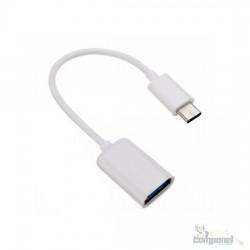Adaptador OTG USB A Fêmea x Tipo C Macho, Branco